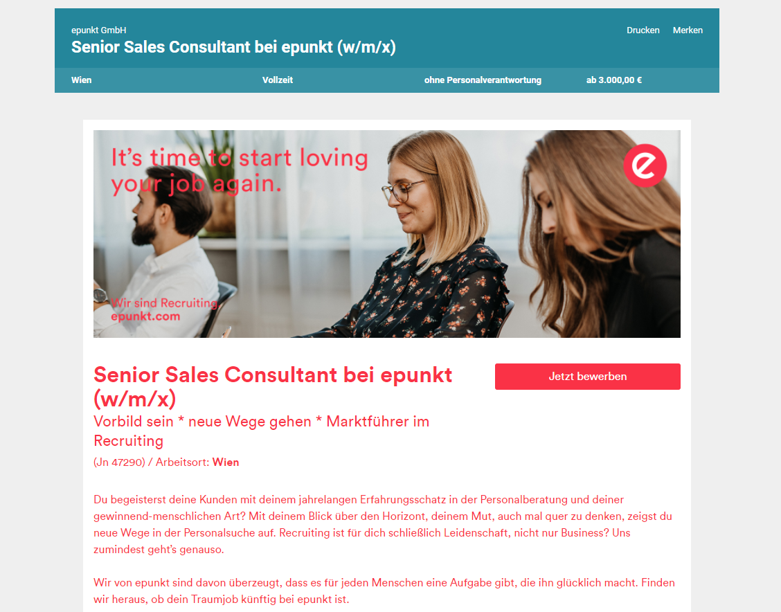 Job: Senior Sales Consultant Job bei epunkt